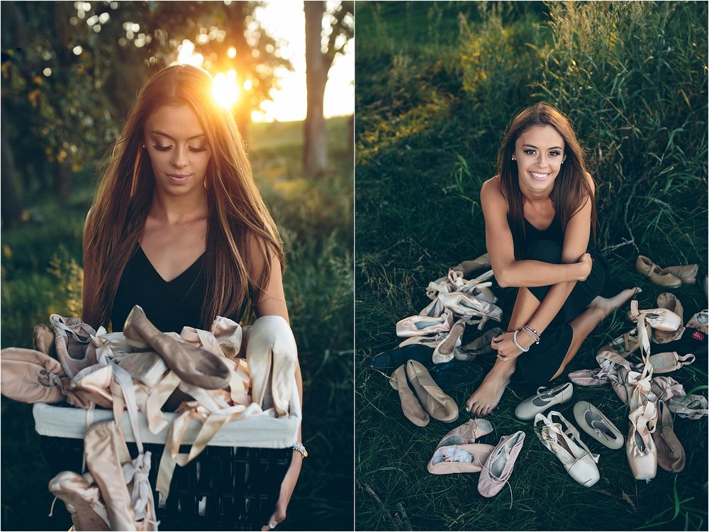 Senior portrait session with dance shoes in Madison, WI.
