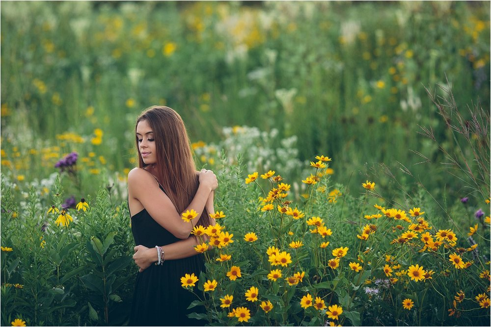Wildflower senior session in Verona, WI.