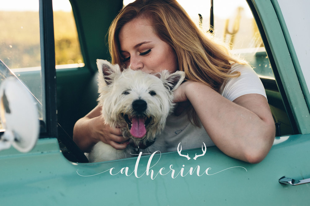 Editorial styles senior portrait session with a small dog and classic truck.