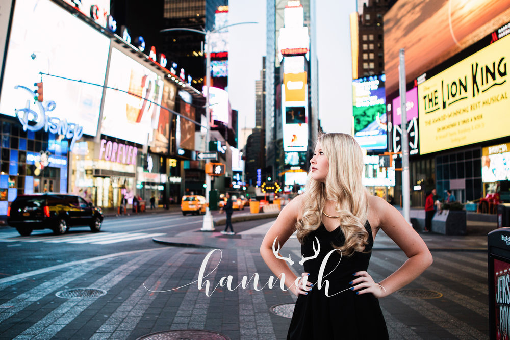 Senior picture in Times Square, NYC.
