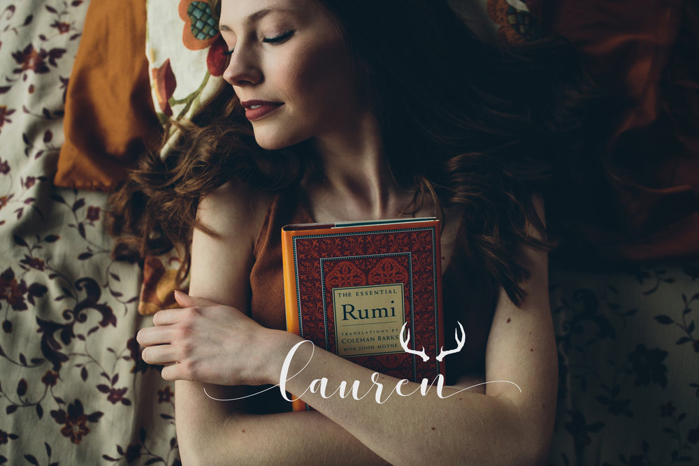 A boho, editorial senior portrait session taken in an airbnb with a Rumi book.