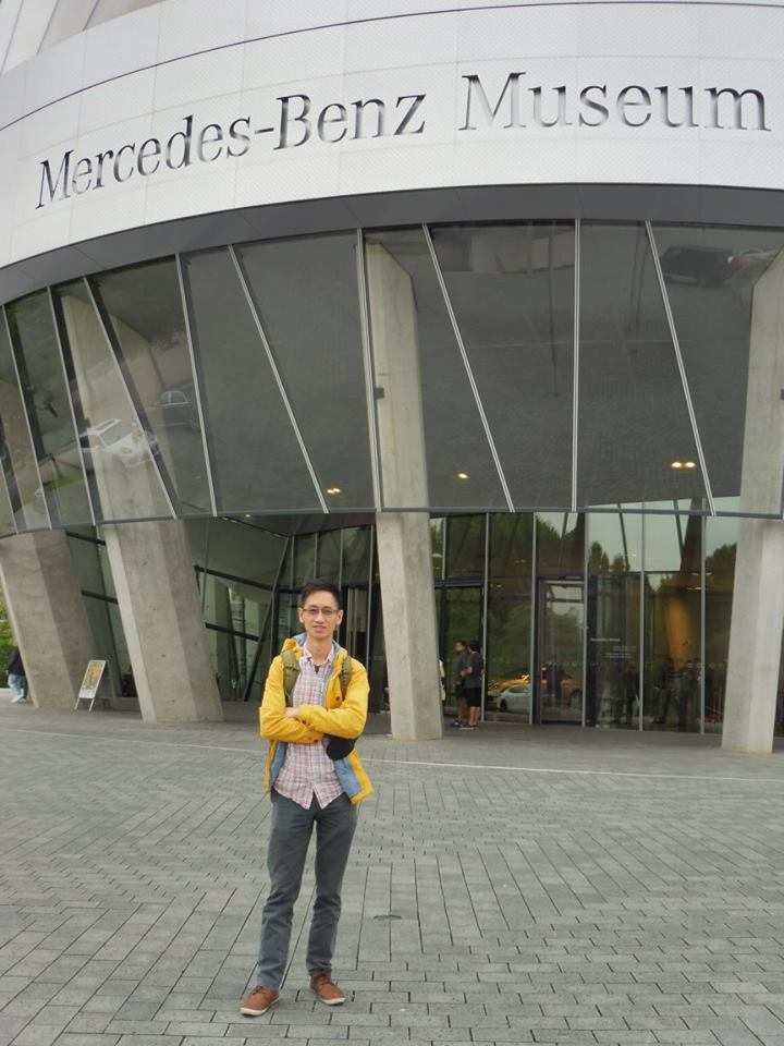 Edward outside the Mercedes-Benz Museum in Stuttgart