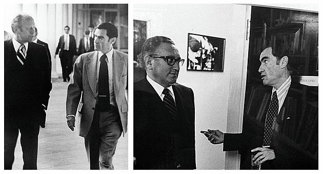 (Left) Jim Jordan with Gerald Ford, 1976.       (Right) Jim Jordan with Henry Kissinger, 1976.