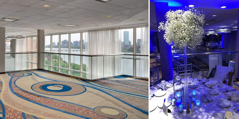 Before and after - Purple uplighting at the hyatt regency cambridge