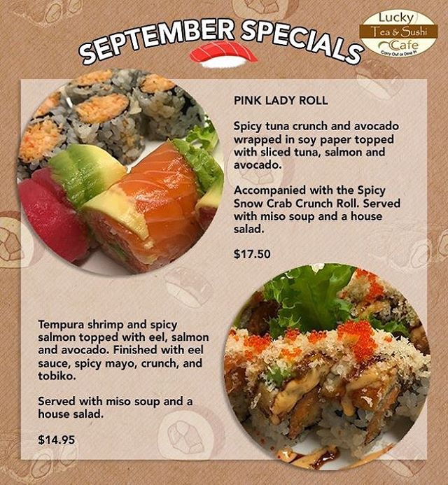 September is here! That means NEW September specials! These specials will be running through the entire month, so make sure not to miss out on these awesome deals! 🍣
