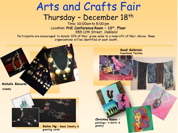PHI Arts and Crafts Fair distribution flyer 12-18-14