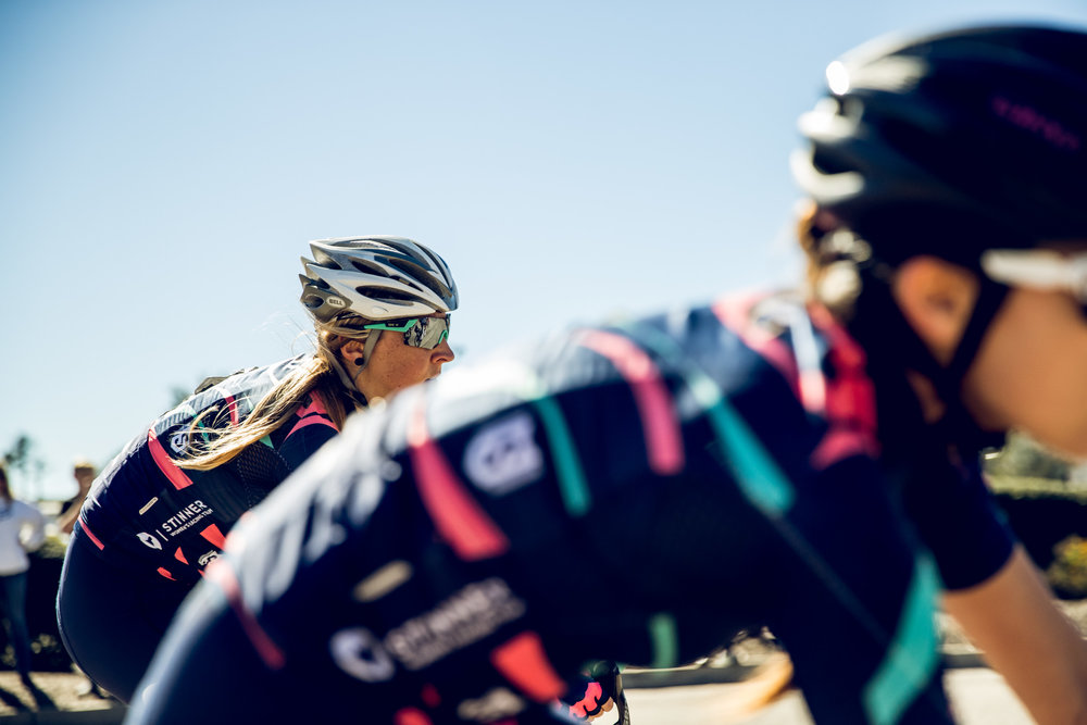 On Saturday at the Santa Barbara County Road Race, Tara Conway was able to snag third place in a tight field sprint in the Women's 4's field.  She set the tone for an awesome weekend of racing to come.   Photo: MCM