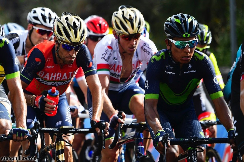 Climbing favorites Vincenzo Nibali (Bahrain-Merida) and Nairo Quintana (Movistar).   Photo: steephill.tv/rcs