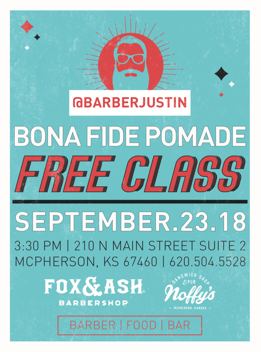 @barberjustin & @bonafidepomade are coming to FOX & ASH // come learn, grub, and drink with us September 23rd. This event is open to the public- fellow students, barbers, and cosmetologists bring a friend or three! @jamescutshair will also be teaching a class on fading and braiding. - free bona fide class