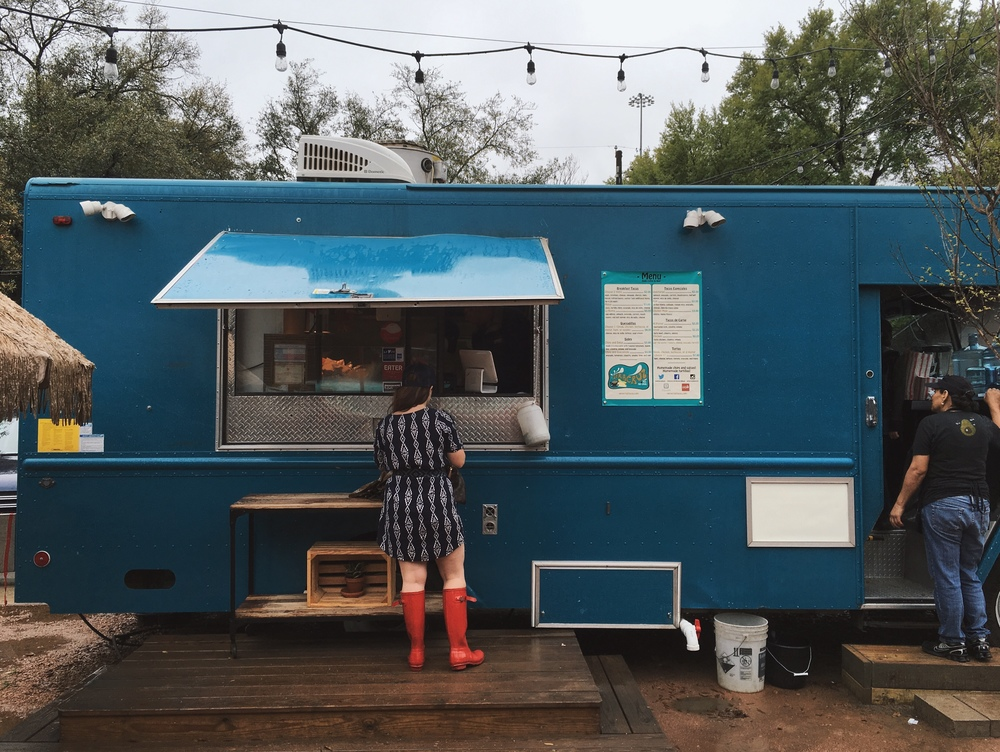 Veracruz All Natural's truck at Radio Coffee, in South Austin, on a rainy afternoon.