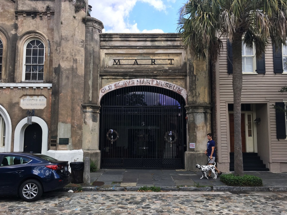 The Old Slave Mart, now a museum in its original location in downtown Charleston. Slavery was bad. This Dalmation was not.