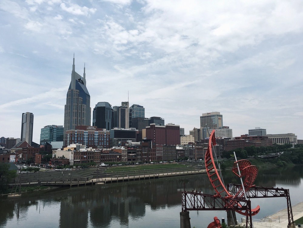 Downtown Nashville, as seen from the John Seigenthaler pedestrian bridge crossing the Cumberland River.