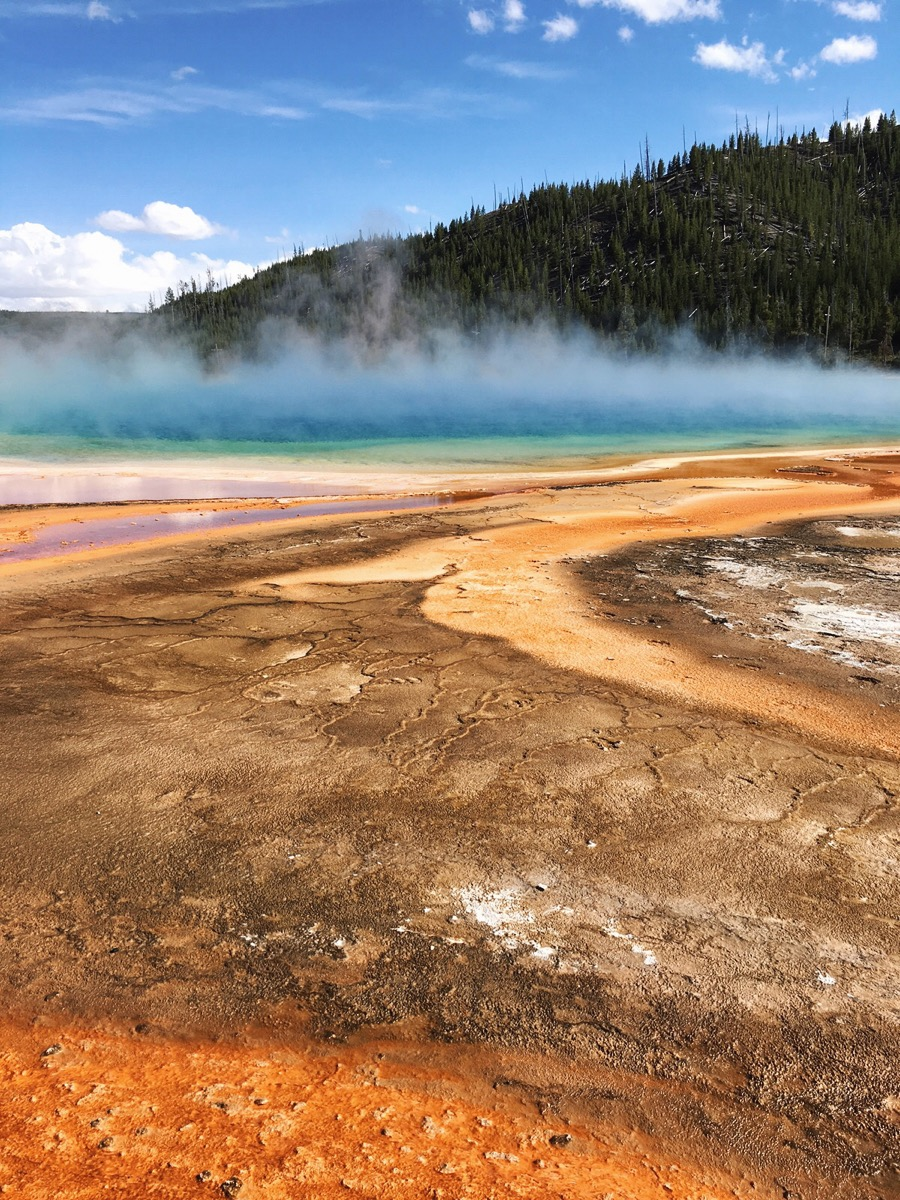 Grand Prismatic Spring discharges an estimated 560 gallons of water a minute, according to this site.
