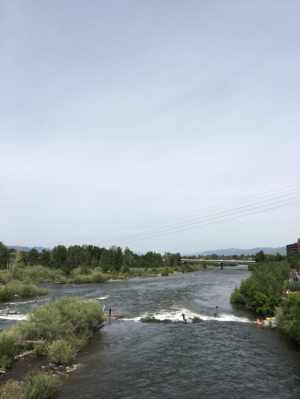 We began the day with some great toast at a cute cafe in Missoula, MT. Some surfers were having fun on the Clark Fork River we crossed over.