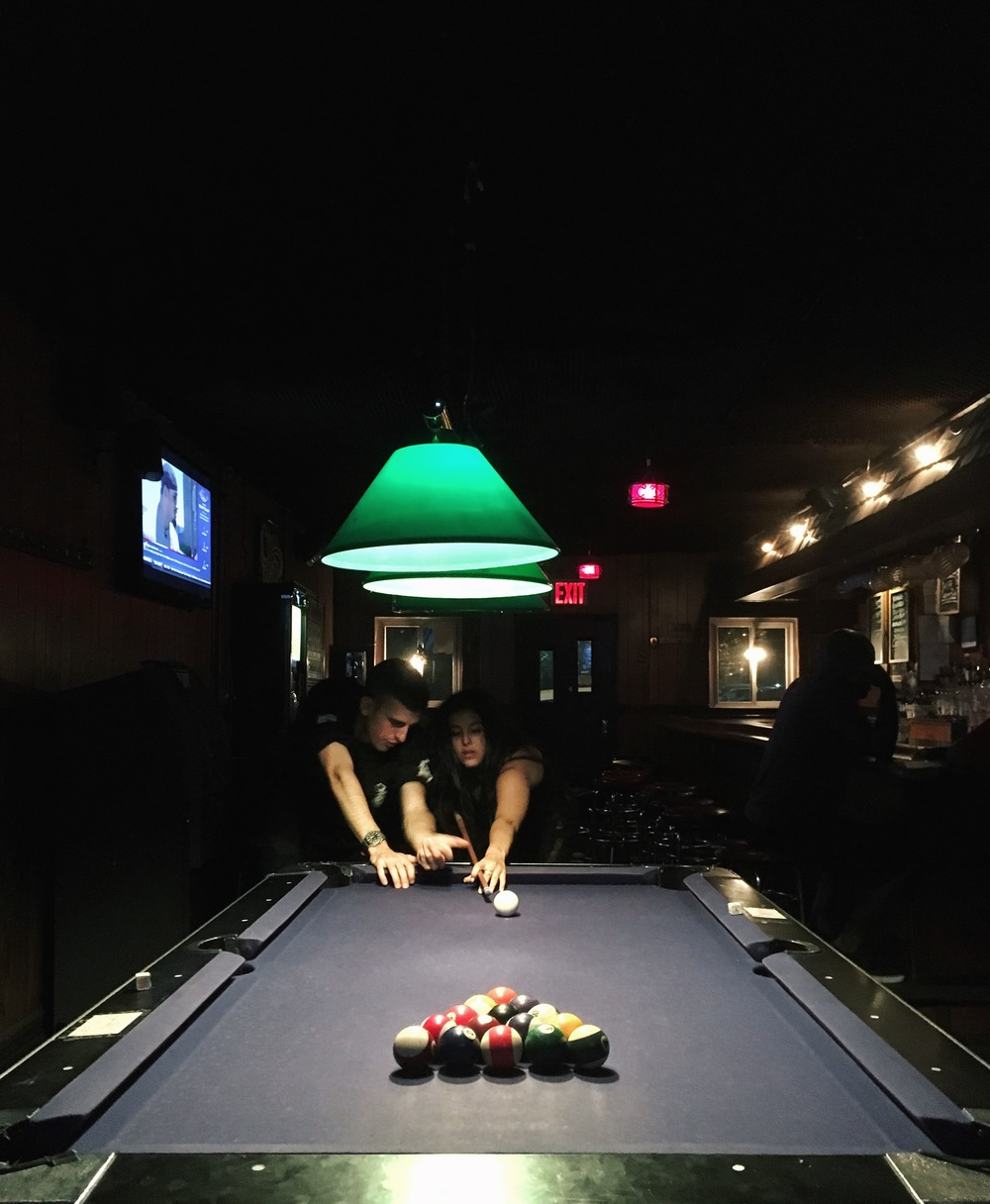 Nobody told the dive bar pool table to let Ashley flawlessly break because it was her birthday.