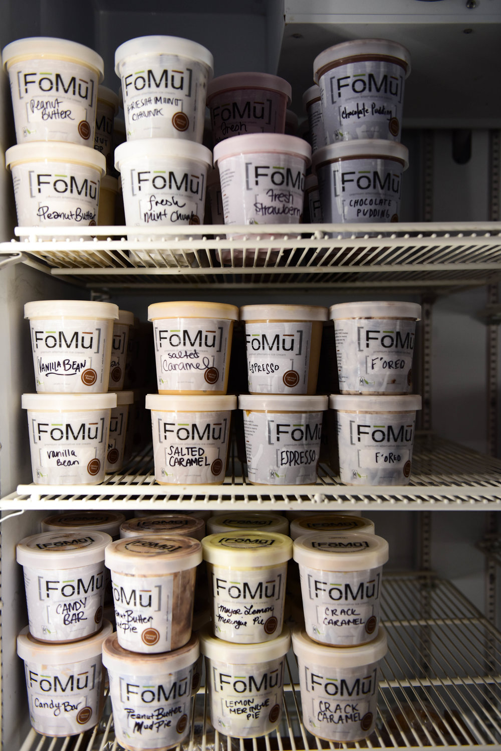 When the company started, it was selling directly to restaurants and other specialty stores. Jalal and Tang happened upon the empty storefront in Allston that would become their first brick and mortar location, and decided to try FoMu as a consumer-facing brand.