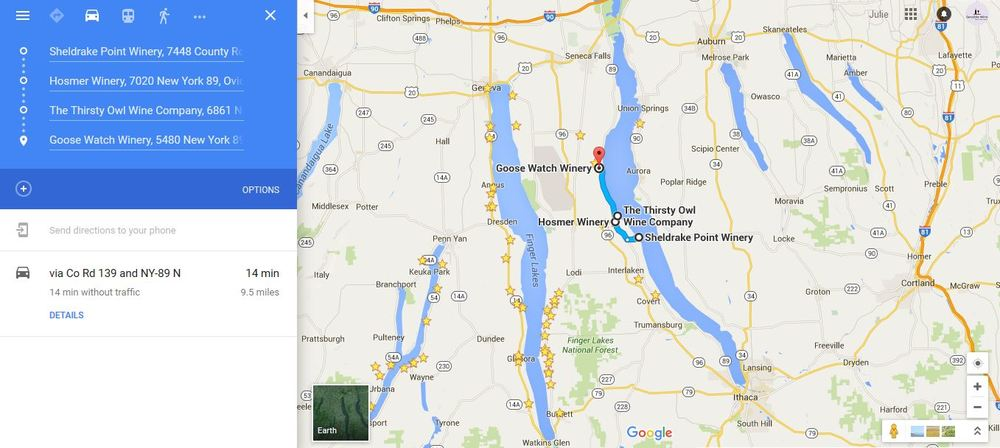 Cayuga Lake Wine Trail Map