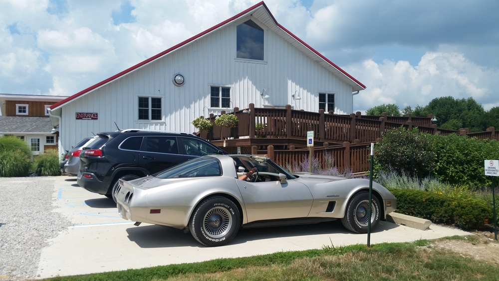 Our 1982 Corvette in front of Mallow Run Winery Bargersville, Indiana