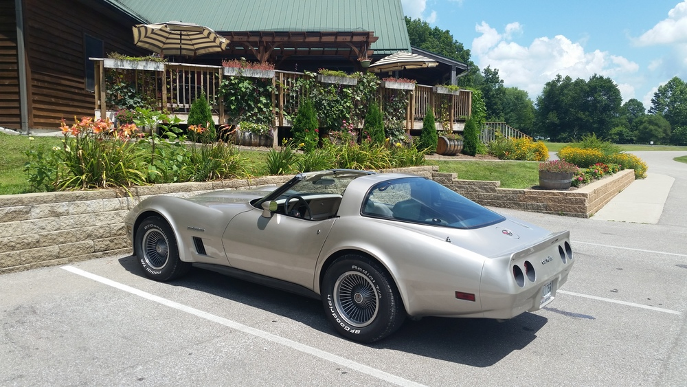 Our 1982 Corvette in front of Brown County Winery