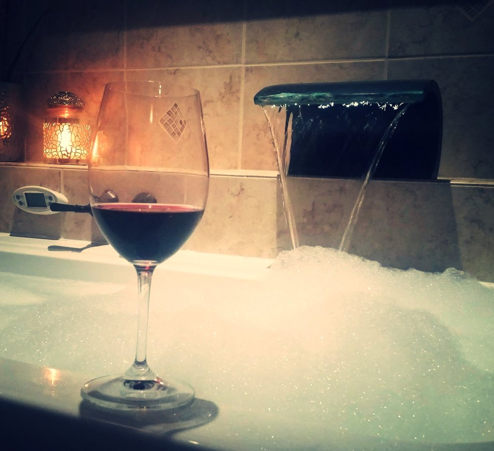 Whats more relaxing than a bubble bath and a glass of wine?