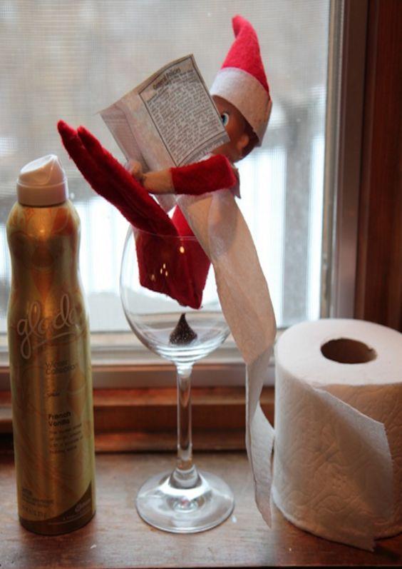 Elf on th Shelf in wine glass