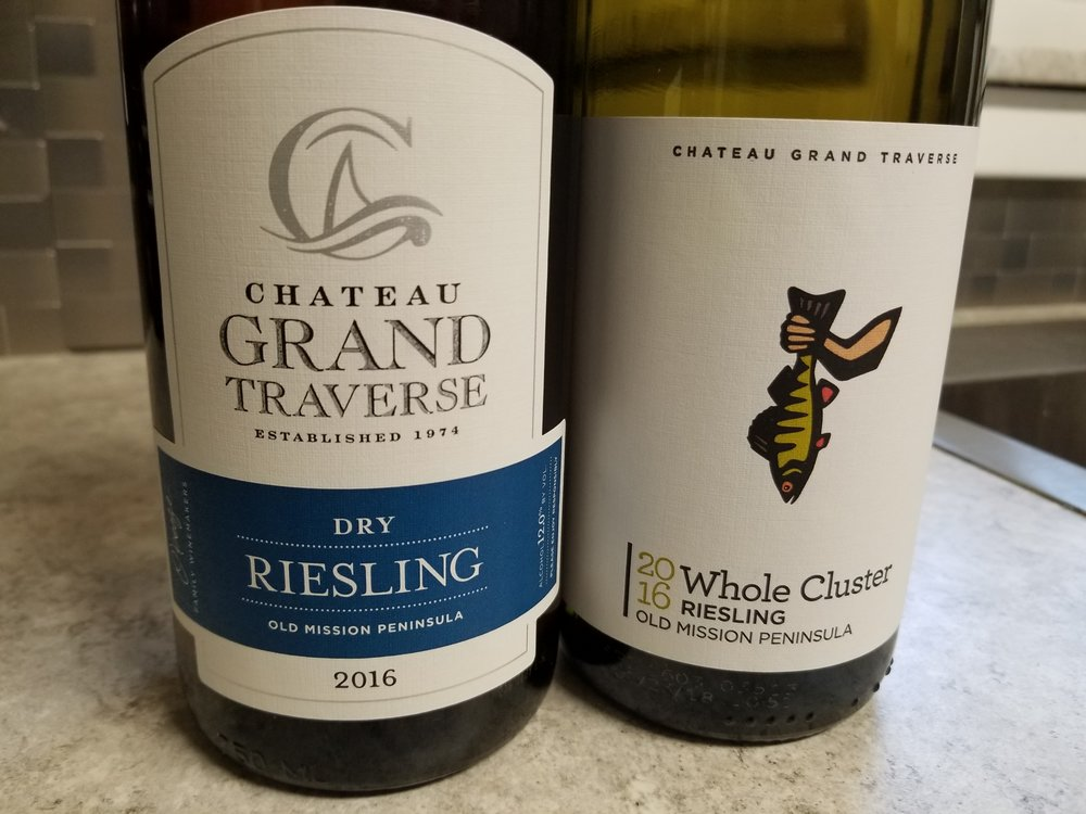Chateau Grand Traverse, 2016 Whole Cluster Riesling and 2016 Dry Riesling