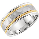Stuller Two-tone Hammed Men's Gold Wedding Band