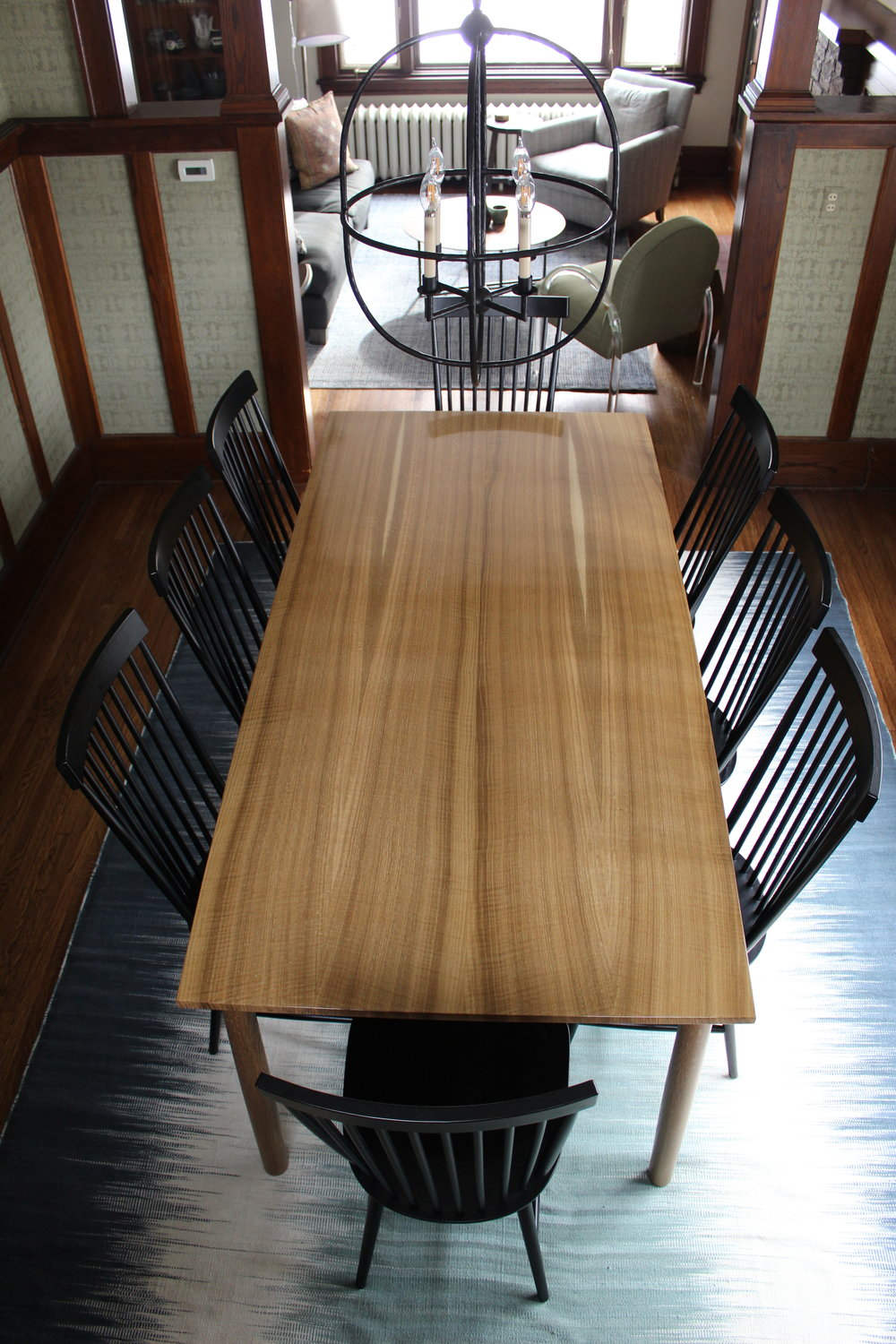 Fumed White Oak Table -w_ Chairs Overhead.JPG