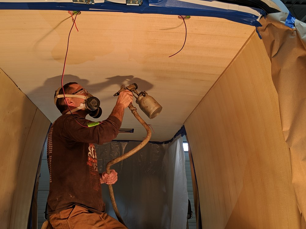Spraying the ceiling