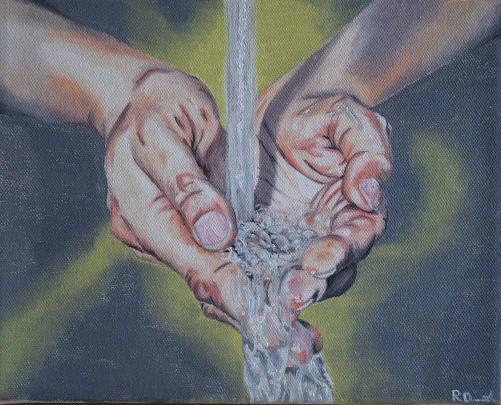 Hands Catching Water (2016), oil on canvas