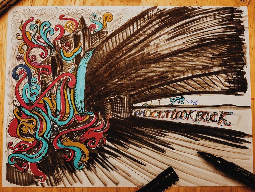 Day 17 - Don't Look Back - Inktober - Ray Haddad