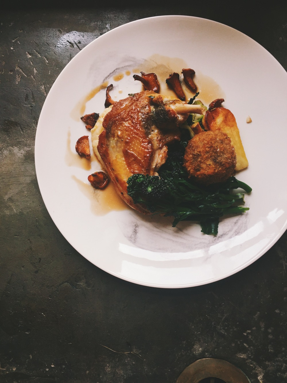 HillFoodCo_Pan fried Guinea fowl, braised leg croquette, truffled parsnip purée, purple sprouting broccoli, girolles,  Guinea fowl reduction.jpg