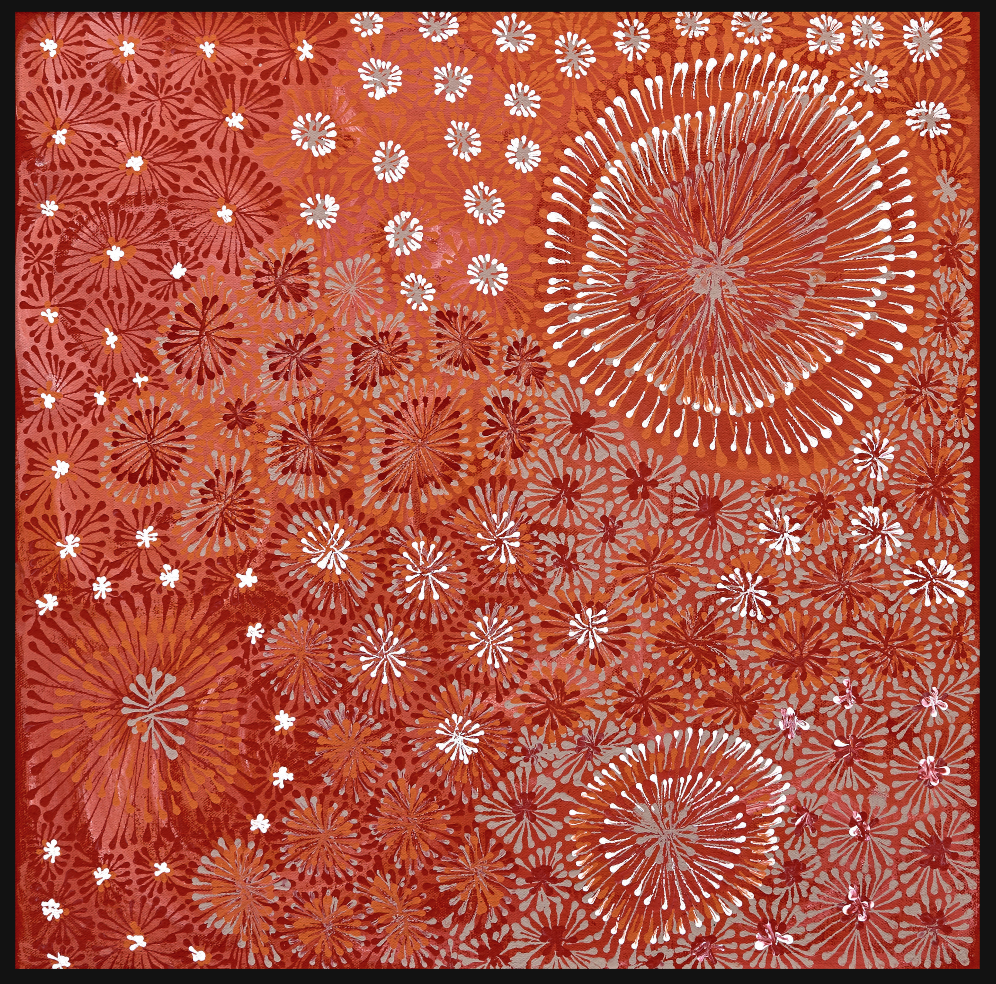 Jitilypuru Jukurrpa, by Sylvaria Napurrurla Walker,  available for purchase on Bay Gallery Home.