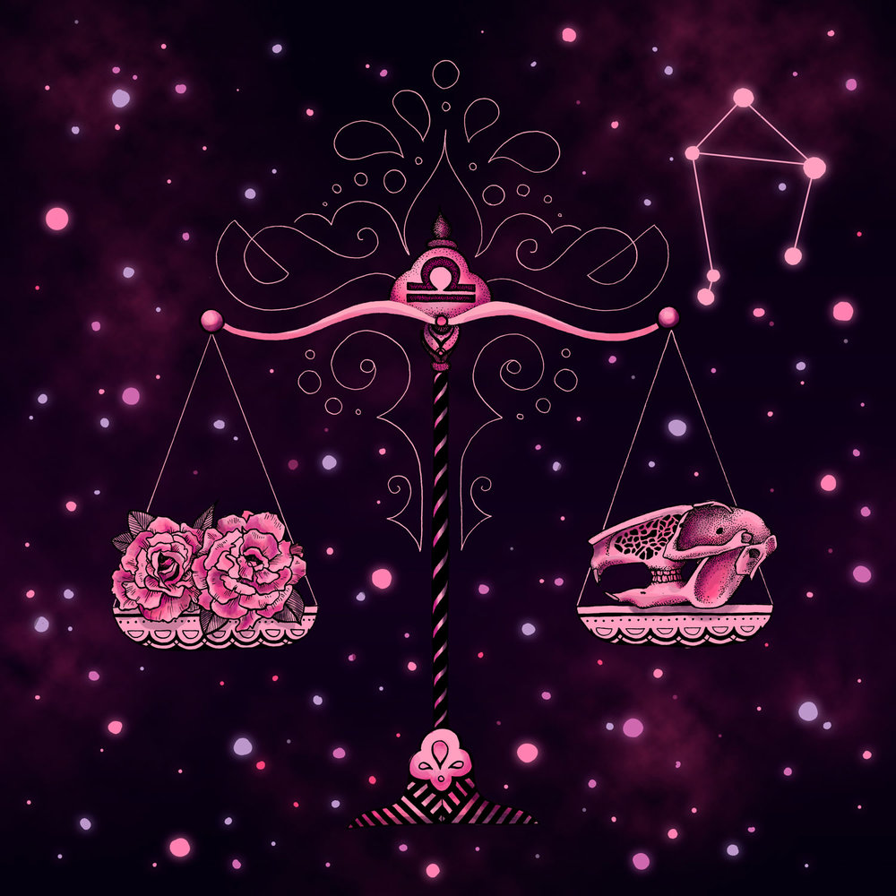 Libra  Scales, Hare Skull, and Roses