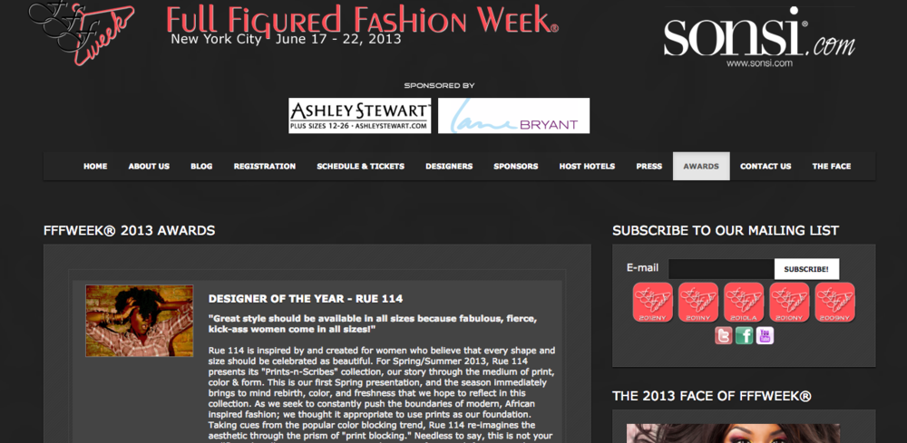 Full Figured Fashion Week, 2013 Designer of the Year