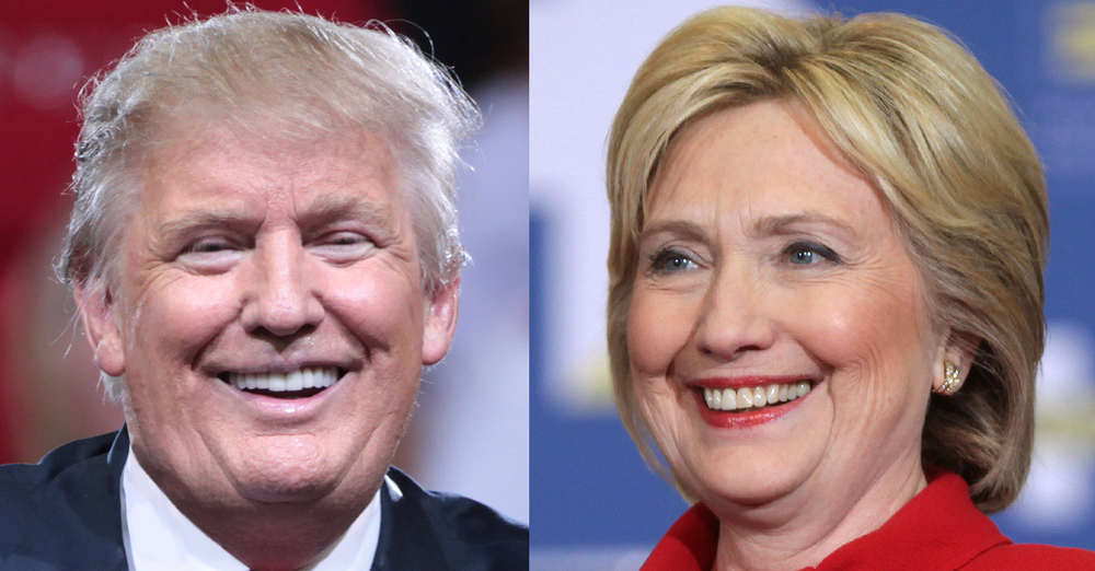 Images of Donald Trump and Hillary Clinton smiling