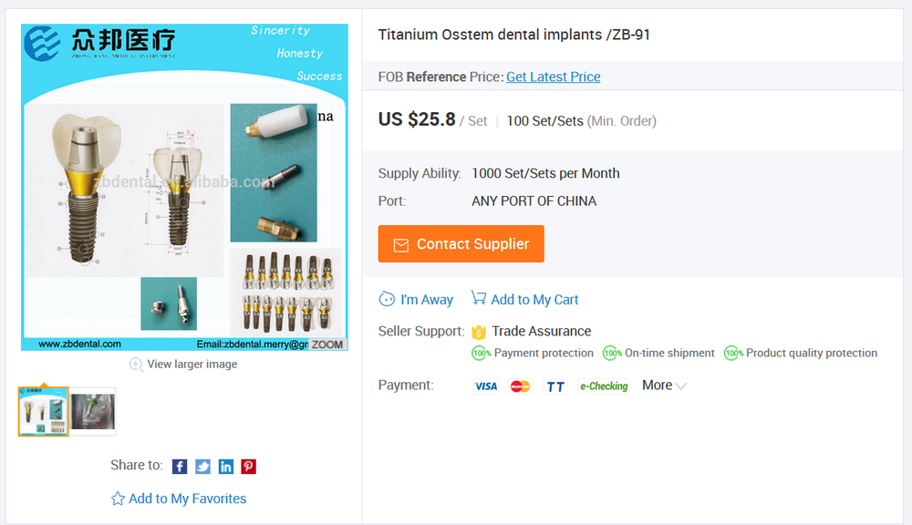 Image of cheap and potentially unsafe dental implants