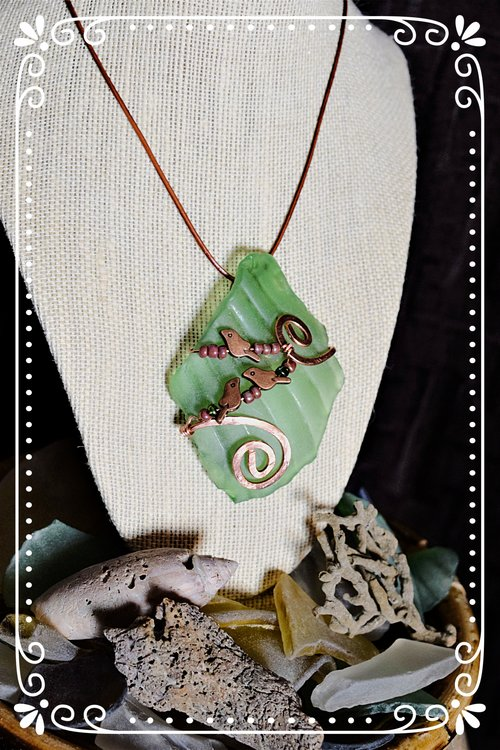 Birds on a wire green glass pendant suddenshrines birds on a wire green glass pendant mozeypictures Image collections
