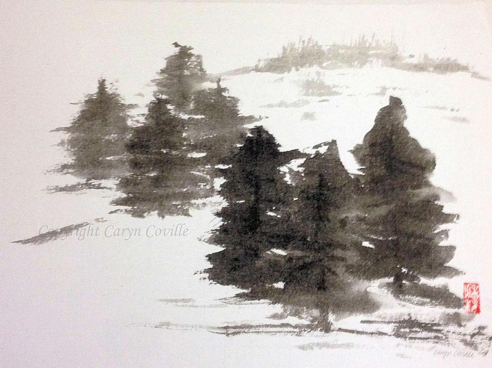 Winter Pines, ink & watercolor,  14x16 s.jpg