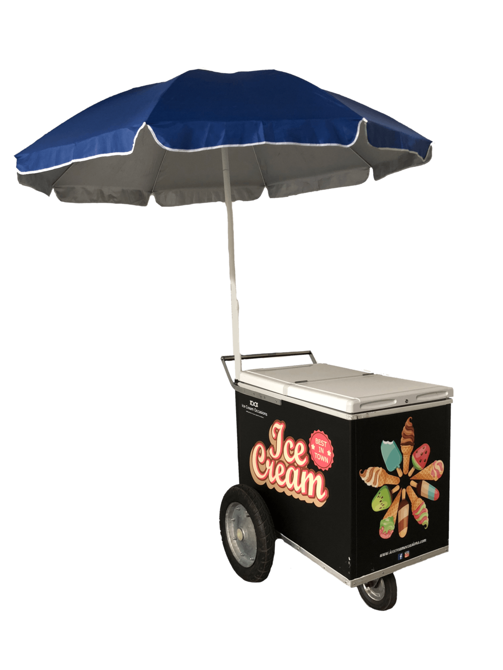 ICE CREAM CART RENTAL - Rent our unique ice cream cart. It's a classic and a favorite among our customers. Also comes in white! Cart rental is $349. Includes Delivery, Pickup, and 70 FREE pieces of your choice of ice cream (Mochi Ice Cream Extra). Umbrella included at no additional charge. Need more than 70 pieces? Sure, just request it. Choose from the LARGEST selection of ice cream in the industry!