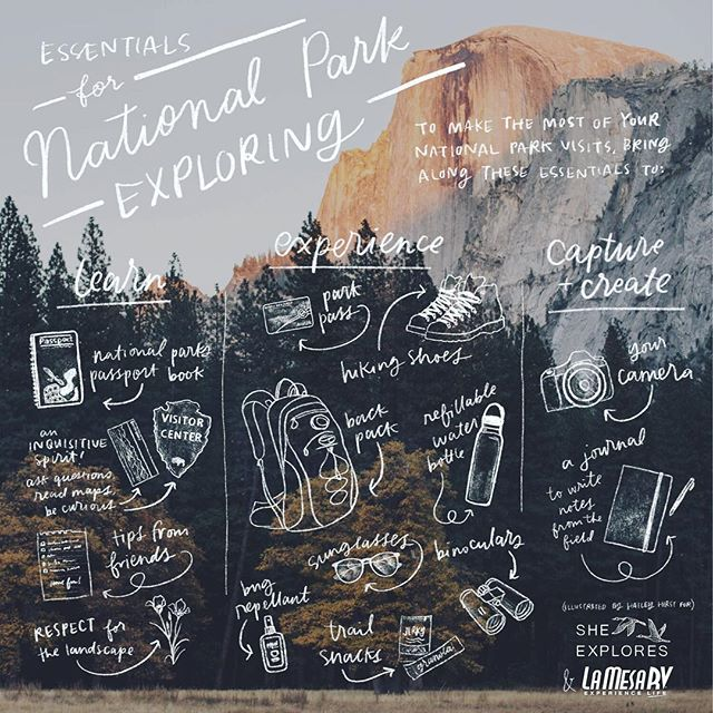 I'm excited to share this fun illustration I made for @she_explores! On our cross-continent motorcycle trip, Jesse and I planned our entire route loosely around National Parks.  We visited 50+ NPS sites in the US and Canada in our two years on the road. But they weren't just places to check off a list. We explored each one with as much depth as we could squeeze into our time. We camped in many, hiked in nearly all, and allowed ourselves the experience of learning what we could about each place.  This small thing is somewhat of a condensation of those years. And in the same week that I had the pleasure of drawing over a national park photo by the talented @galestraub, I also got to put this list to use in Joshua Tree yesterday hiking with my camera at sunrise. _____ #sheexplores #findyourpark #nationalparks