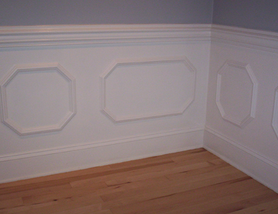 Two Piece Chair Rail with Octagonal Panels