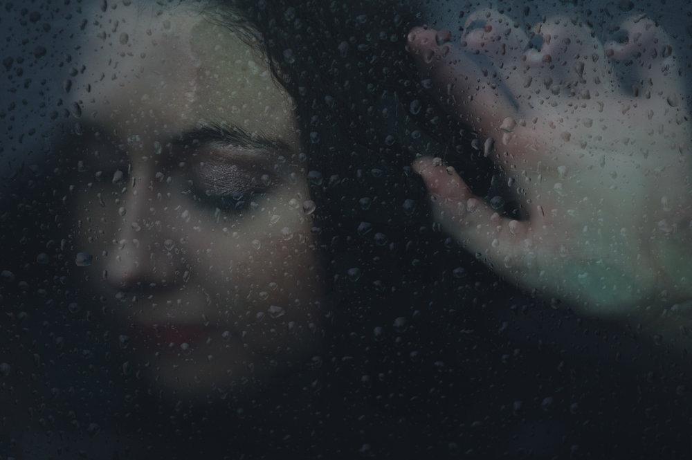 Frozen Memory - Dark Moody Rain & Glass Portraiture