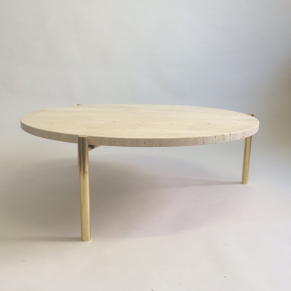 Marble coffee table with solid brass legs