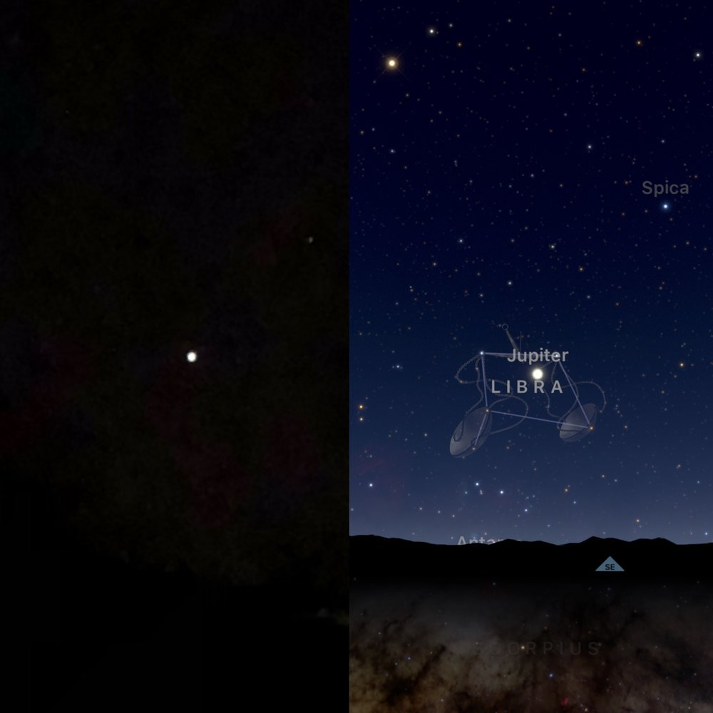 Taken last week, Jupiter in the sky... And the mapping of it from the Sky Guides app on my phone.