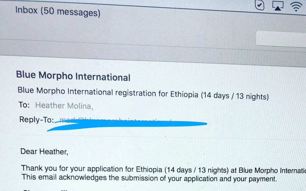 My confirmation of my booking. I head to Addis Ababa in September.