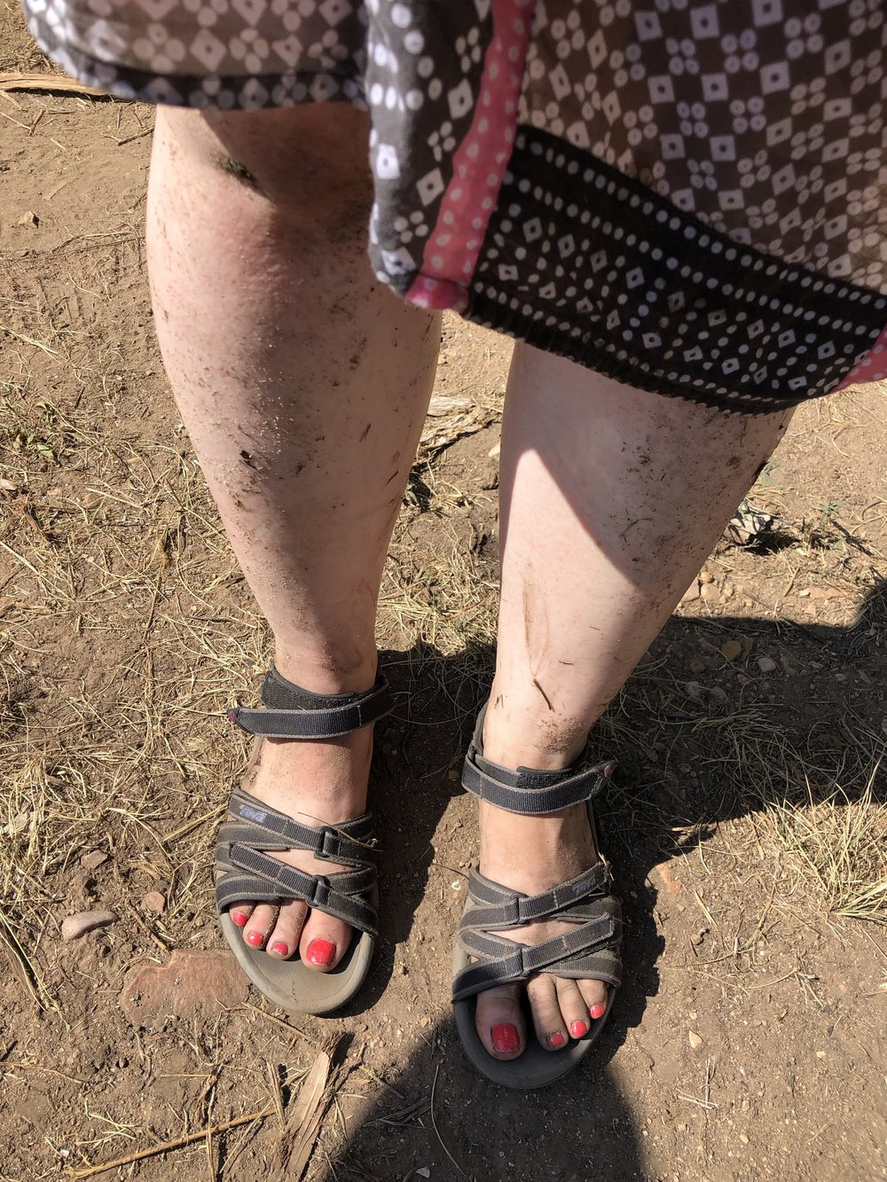 Unshaved, dirty, grimy legs. Chipped polish and caked mud. Sexy.