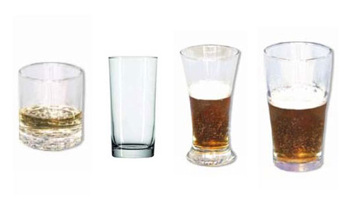 Spirit glass, highball tumbler, pilsner and schooner glass