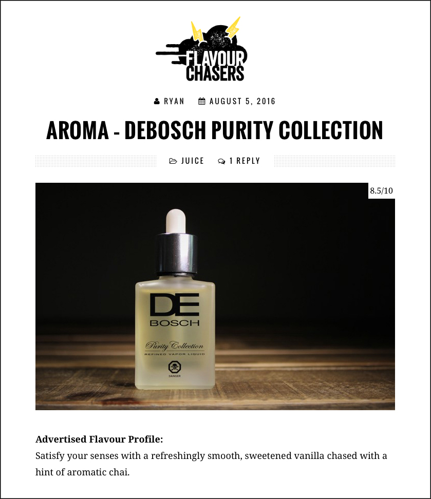 Flavour Chasers Reviews AROMA from DEBOSCH
