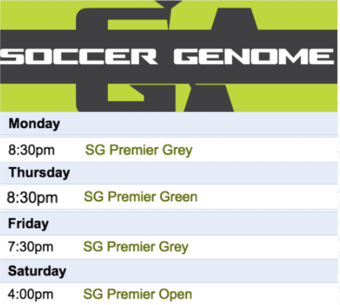 To see our full schedule, visit  soccergenome.com/schedule